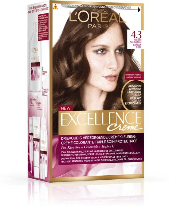 L\'Oréal paris L\'Oréal Paris Excellence Cream 4.3 - Middle Golden Brown -  Hair Dye