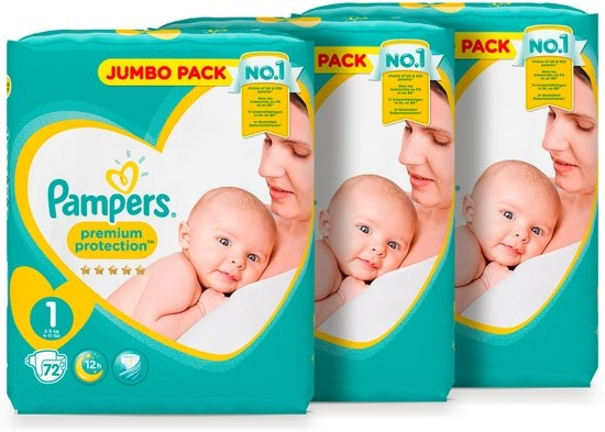 Pampers Premium Protection - Size 1 (New Born) 2-5 kg - Jumbo Box 3x72 diapers