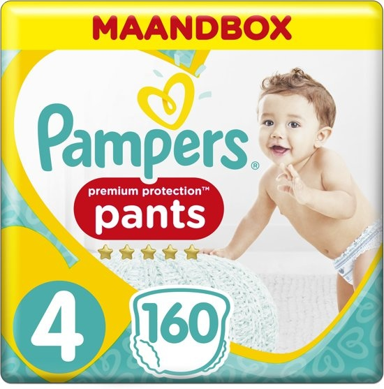 Pampers Premium Protection Pants - Size 4 (9-15 kg) - Monthly box 160 pieces - Diaper pants
