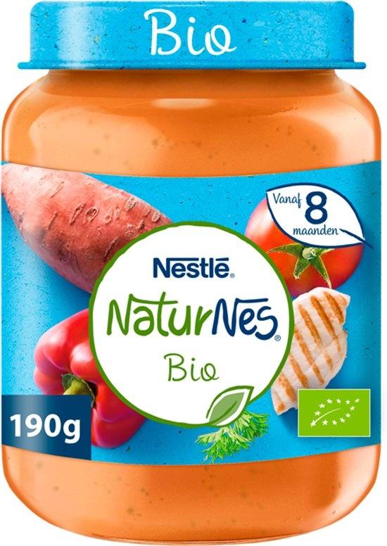 Pot de repas biologique Patate douce, poivron, tomate, poulet 8+ mois - aliments biologiques pour bébés