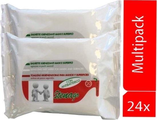 Stenago alcohol antibacterial wipes 24 packs of 20 wipes 20 x 19 cm