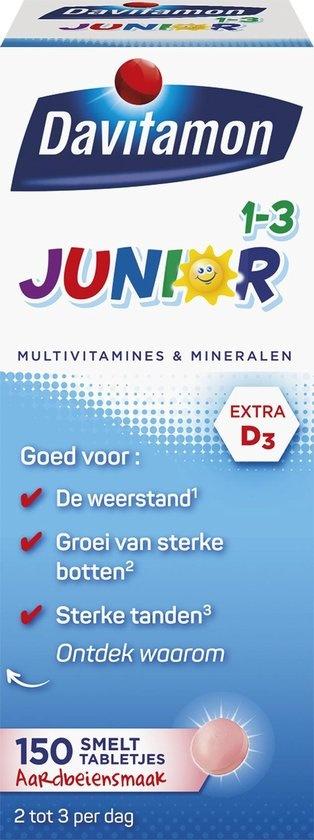 Davitamon Junior 1 bis 3 Jahre Multivitamine Nahrungsergänzungsmittel - 150 Schmelztabletten - Erdbeere