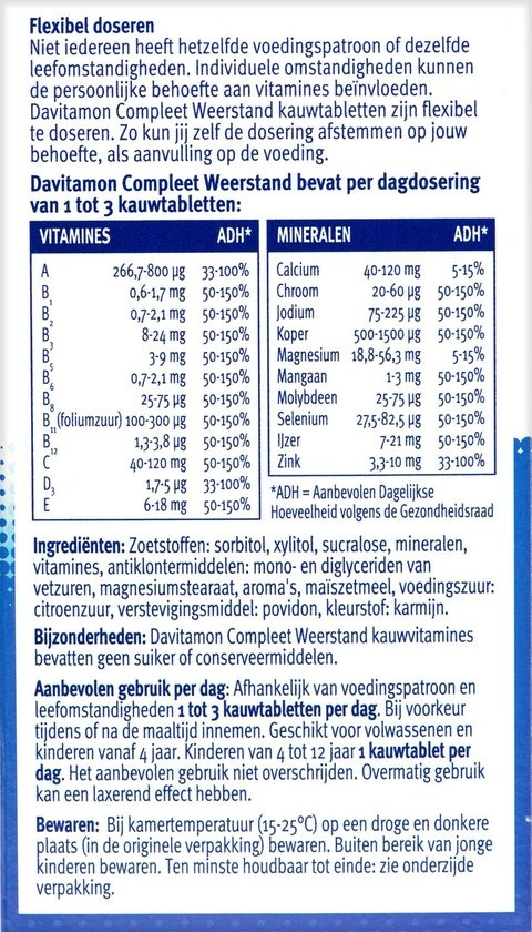 Davitamon Compleet Weerstand Multivitaminen - Aardbei - 60 kauwtabletten