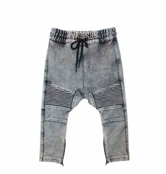 Adam + Yve pre-order GREY DENIM DROP CROTCH BIKER JOGGERS