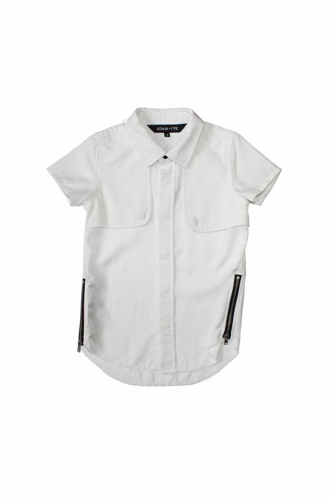 Adam + Yve COOL WHITE BLOUSE WITH SHORT SLEEVES AND ZIPPERS | ADAM + YVE