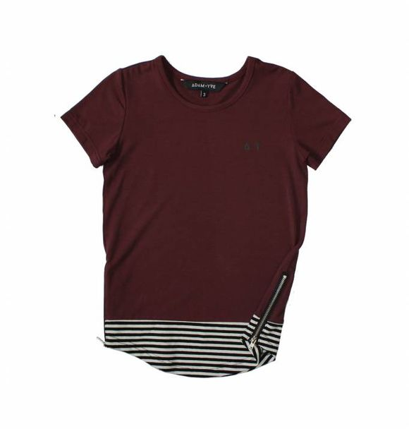 Adam + Yve BURGUNDY LONG LINE TEE