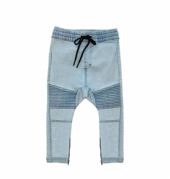 Adam + Yve pre-order BLUE DENIM DROP CROTCH BIKER JOGGERS