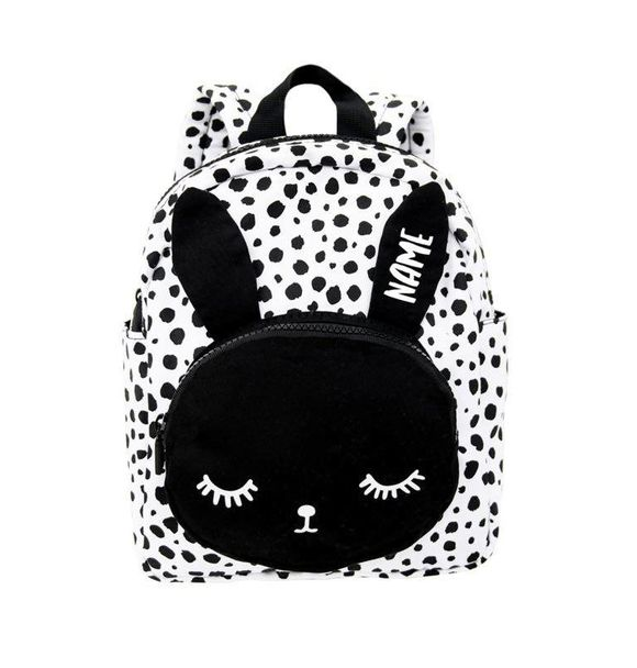 VanPauline BACKPACK BUNNY WHITE DOTS + NAME