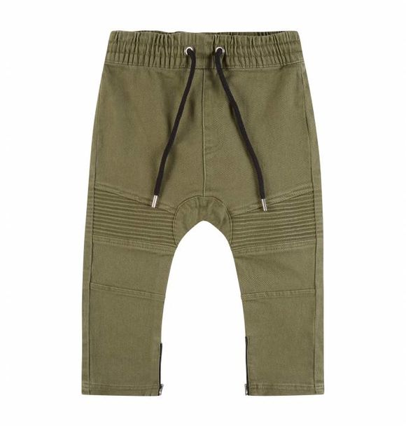 Adam + Yve OLIVE DENIM DROP CROTCH BIKER JOGGERS