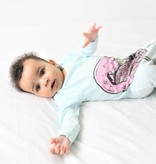 Electrik Kidz GEKNOOPTE SLAAPZAK EN TRAPPELZAKJE BABY BLUE FLAMINGO | ELECTRIK KIDZ