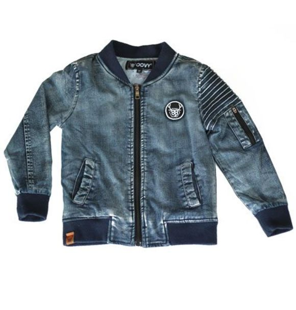 Oovy DENIM INKED BOMBER JACKET