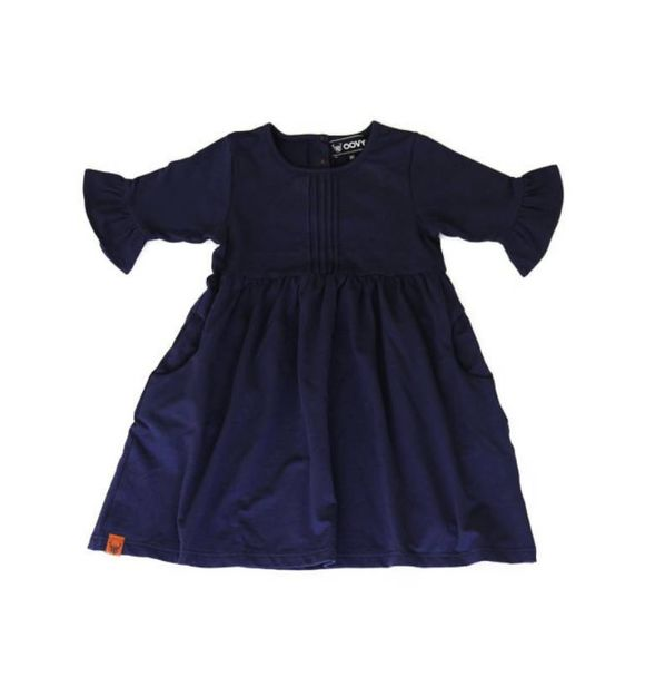Oovy NAVY BELL SLEEVE DRESS
