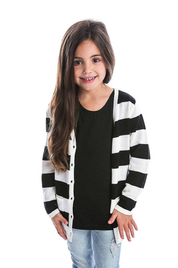 Beau Hudson BLACK AND WHITE PREMIUM KNIT CARDIGAN  | BEAU HUDSON