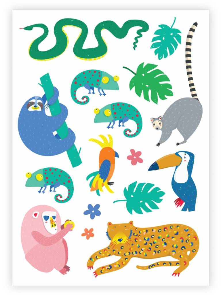 Ducky Street JUNGLE TATTOO -  Sticker Kinder tatoeages met water afneembaar