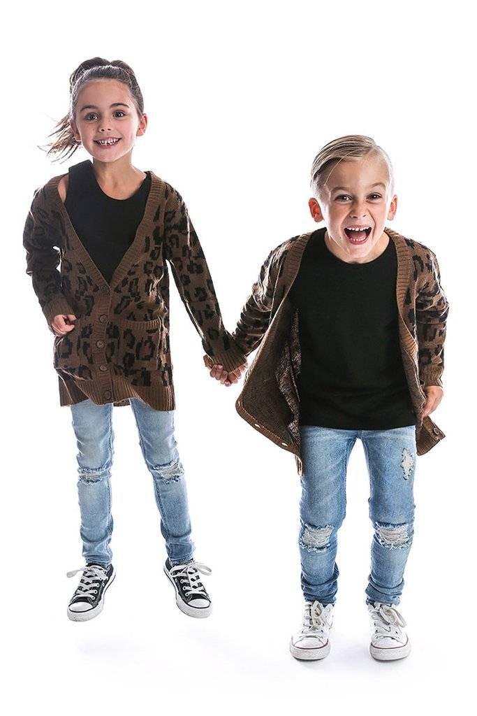 stoer vest met luipaard print kids