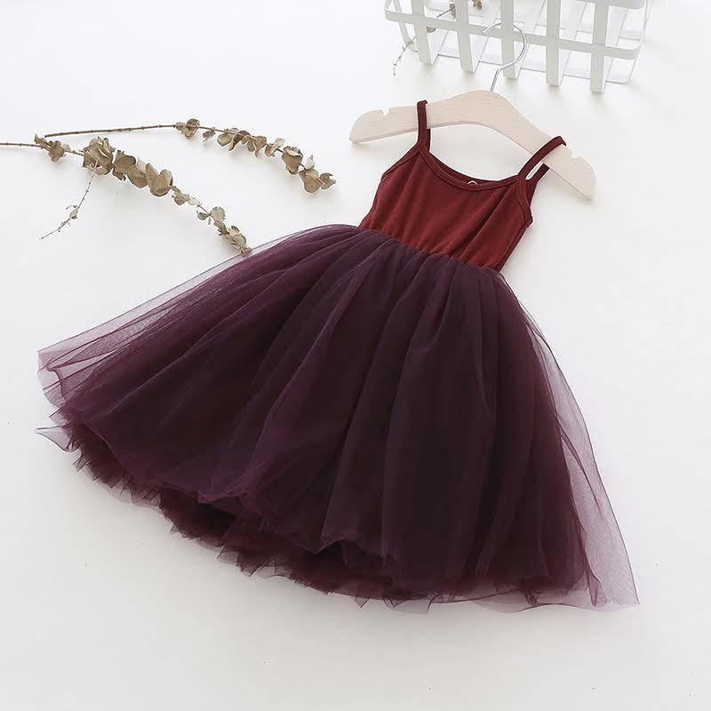 Ma Mer BURGUNDY TUTU DRESS WITH RIBBED TOP | MA MER