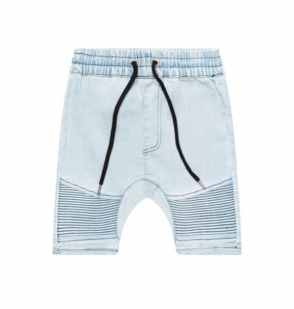 Adam + Yve BLUE DENIM BIKER SHORTS