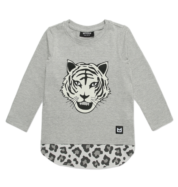 Minikid LONGSLEEVE WHITE TIGER GREY