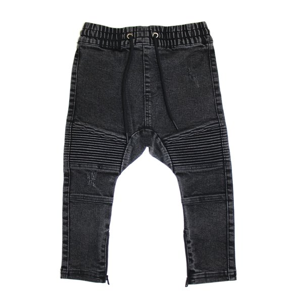 Adam + Yve WASHED BLACK DISTRESSED BIKER JOGGERS