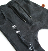 Oovy BLACK WEATHERED DENIM PANTS Tough DENIM DROPCROTCH | OOVY