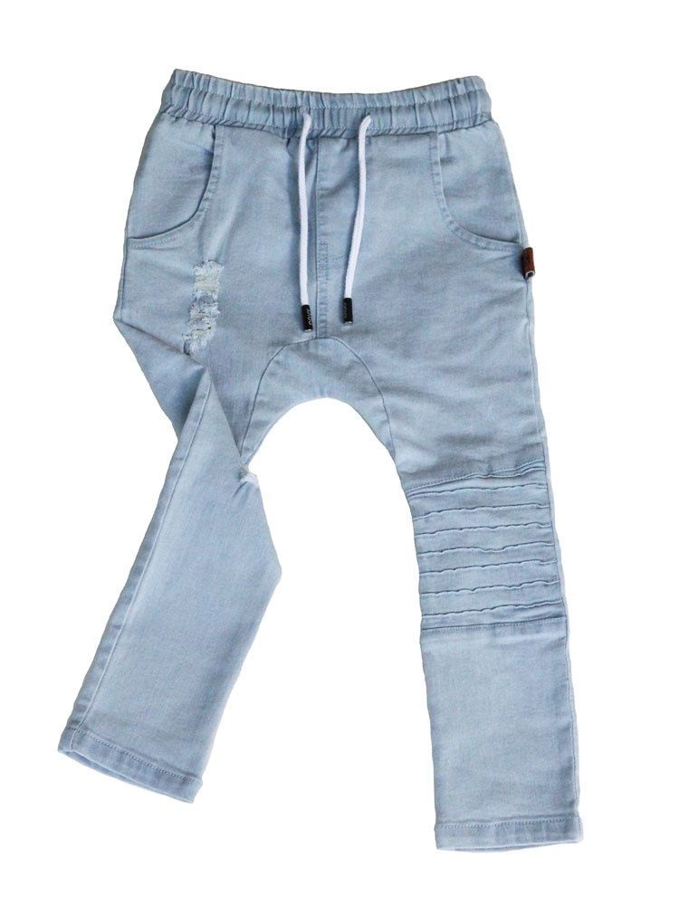 Oovy BLUE DISTRESSED DENIM PANTS | COOL DENIM DROPCROTCH FOR KIDS | OOVY
