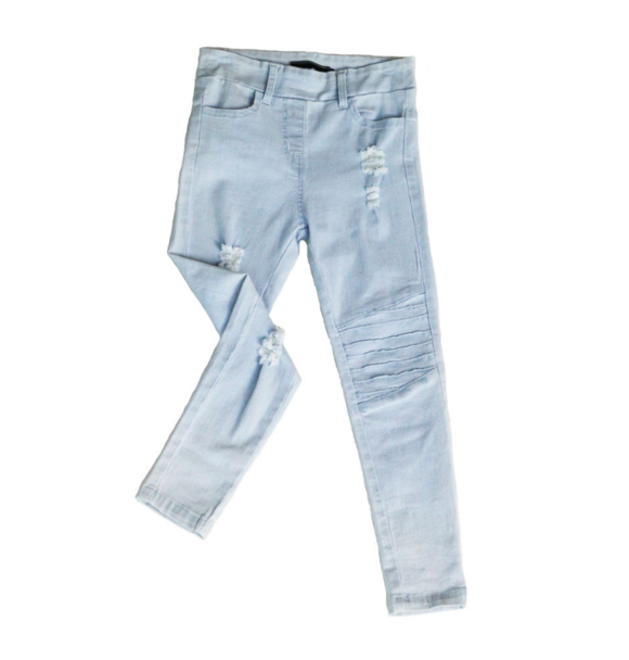 Oovy BLONDE WASH DISTRESSED DENIM JEGS