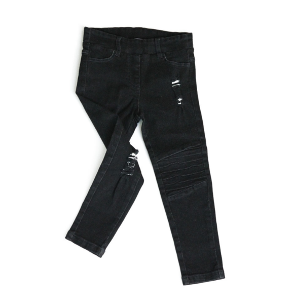 Oovy BLACK DISTRESSED DENIM JEGS