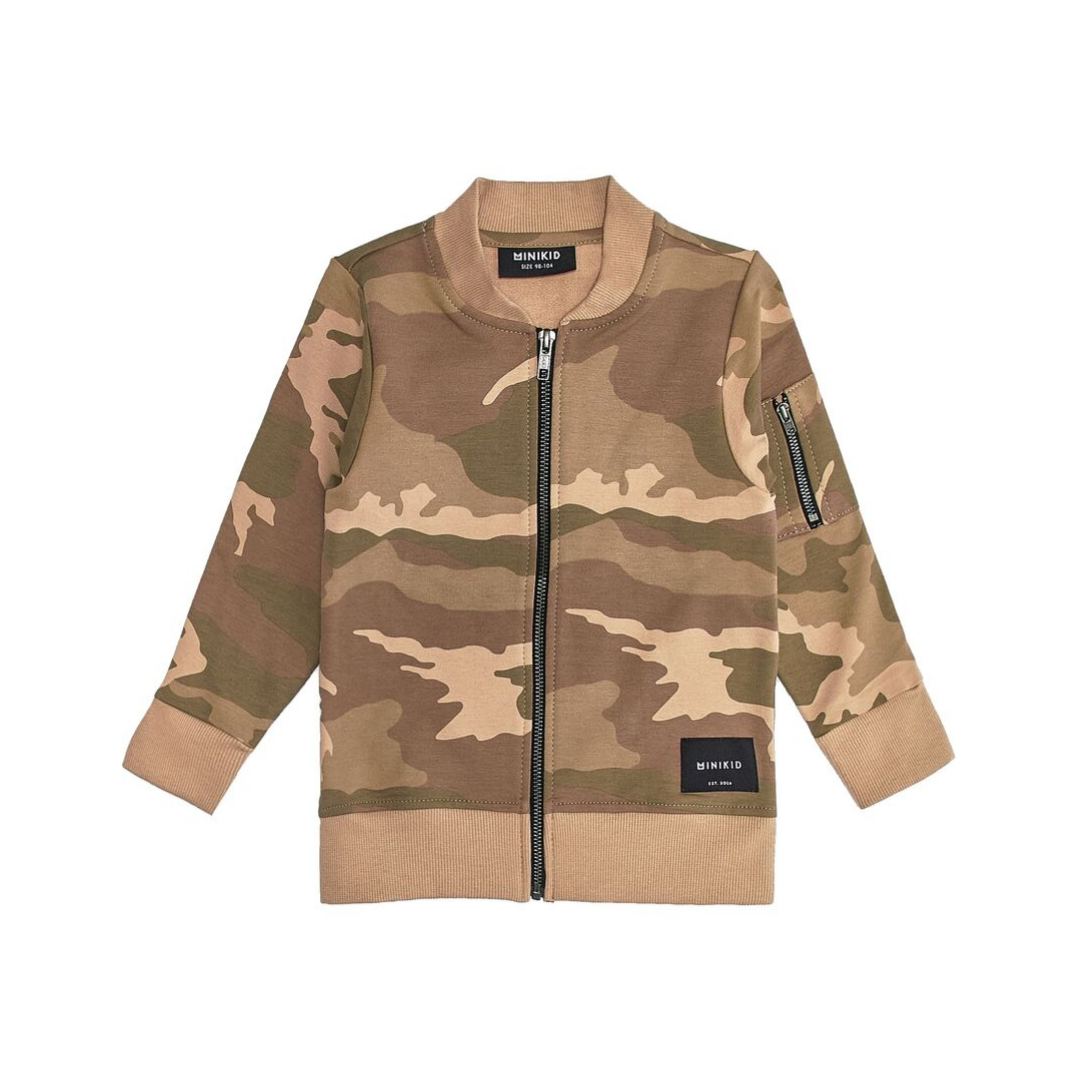 Minikid COOL BOMBER JACKET FOR CHILDREN   LONG BOMBER WITH CAMO PRINT   MINIKID