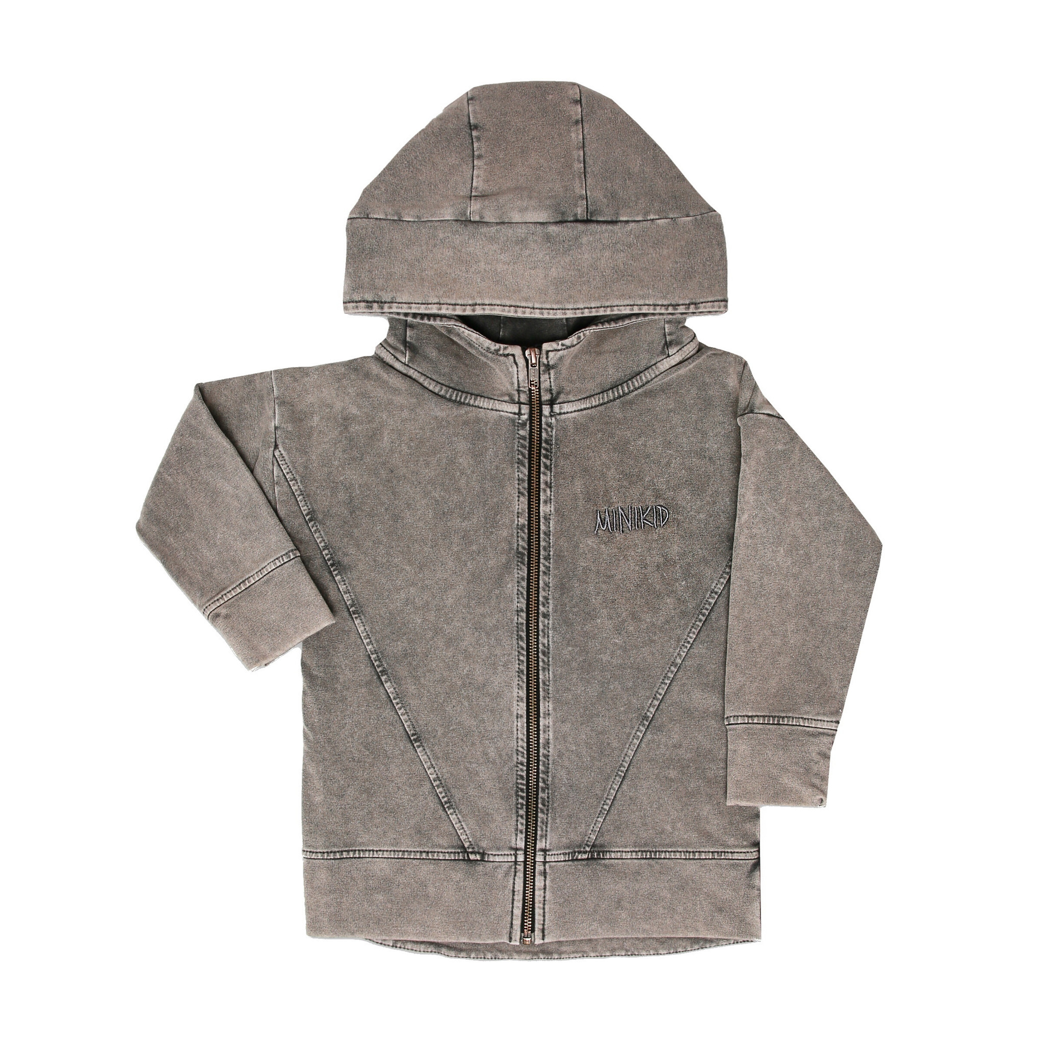 Minikid LONG HOODIE | ACID GREY HOODED CARDIGAN | MINIKID