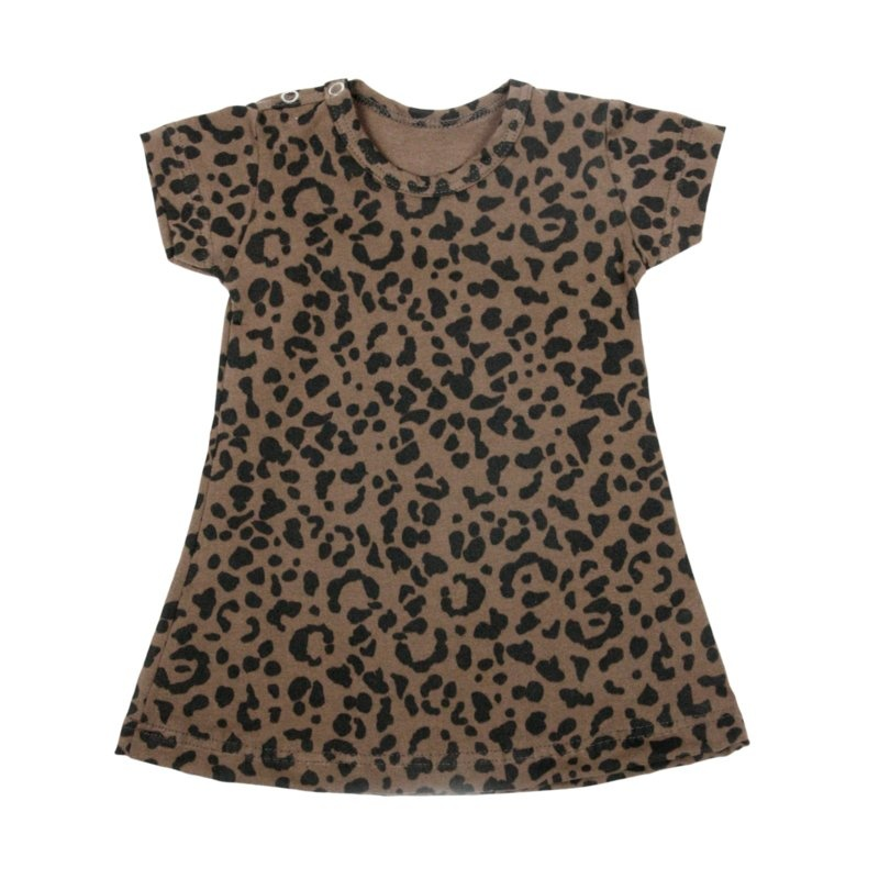VanPauline BROWN GIRL DRESS | DRESS WITH LEOPARD PRINT | GIRL CLOTHING