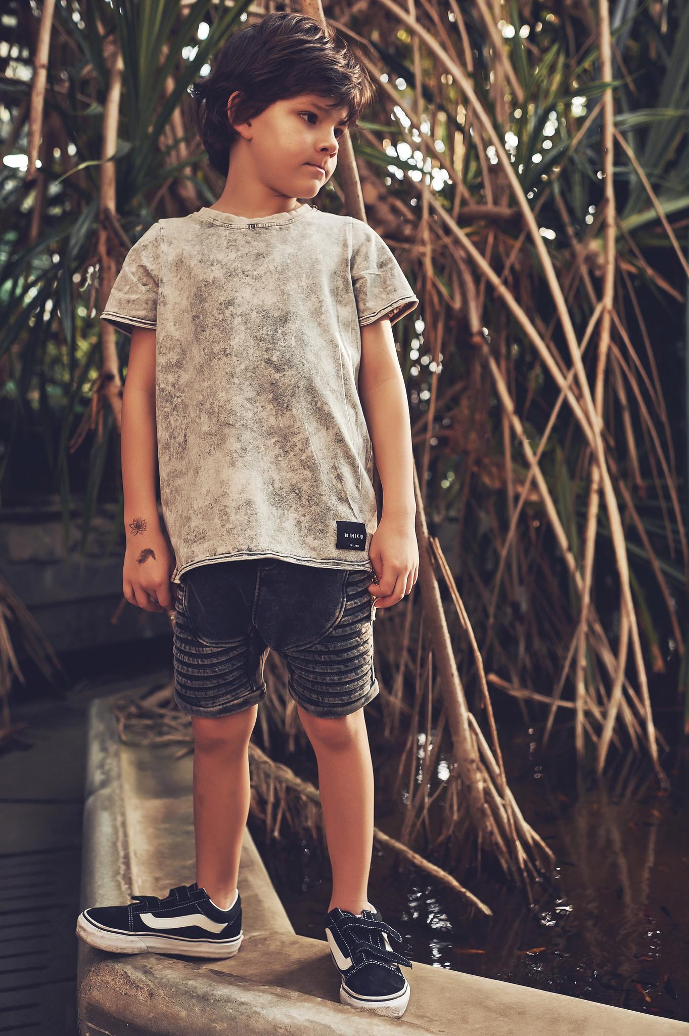 Minikid EXTRA LONG T-SHIRT | GREY COOL SHIRT | BOYS CLOTHING