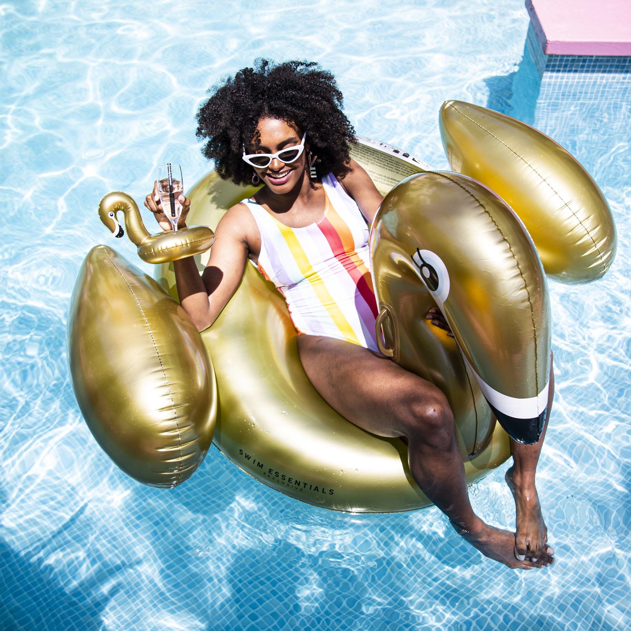 Swim Essentials ZWAAN LUCHTBED 160 cm   OPBLAASBARE FLAMINGO   ZWEMBAD SPEELGOED