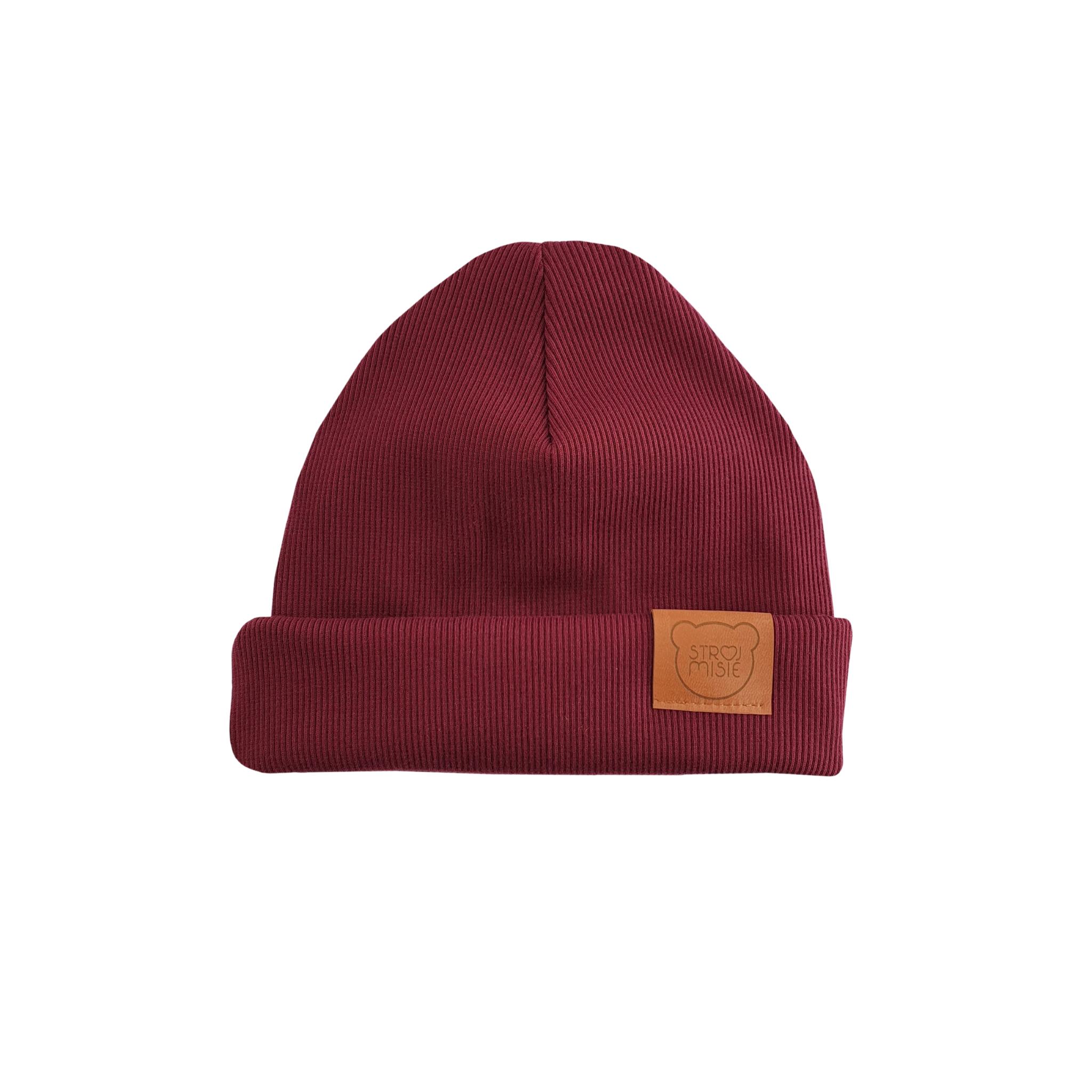 Strojmisie RED HAT | KIDS HAT BURGUNDY | BABY HAT BORDEAUX RED