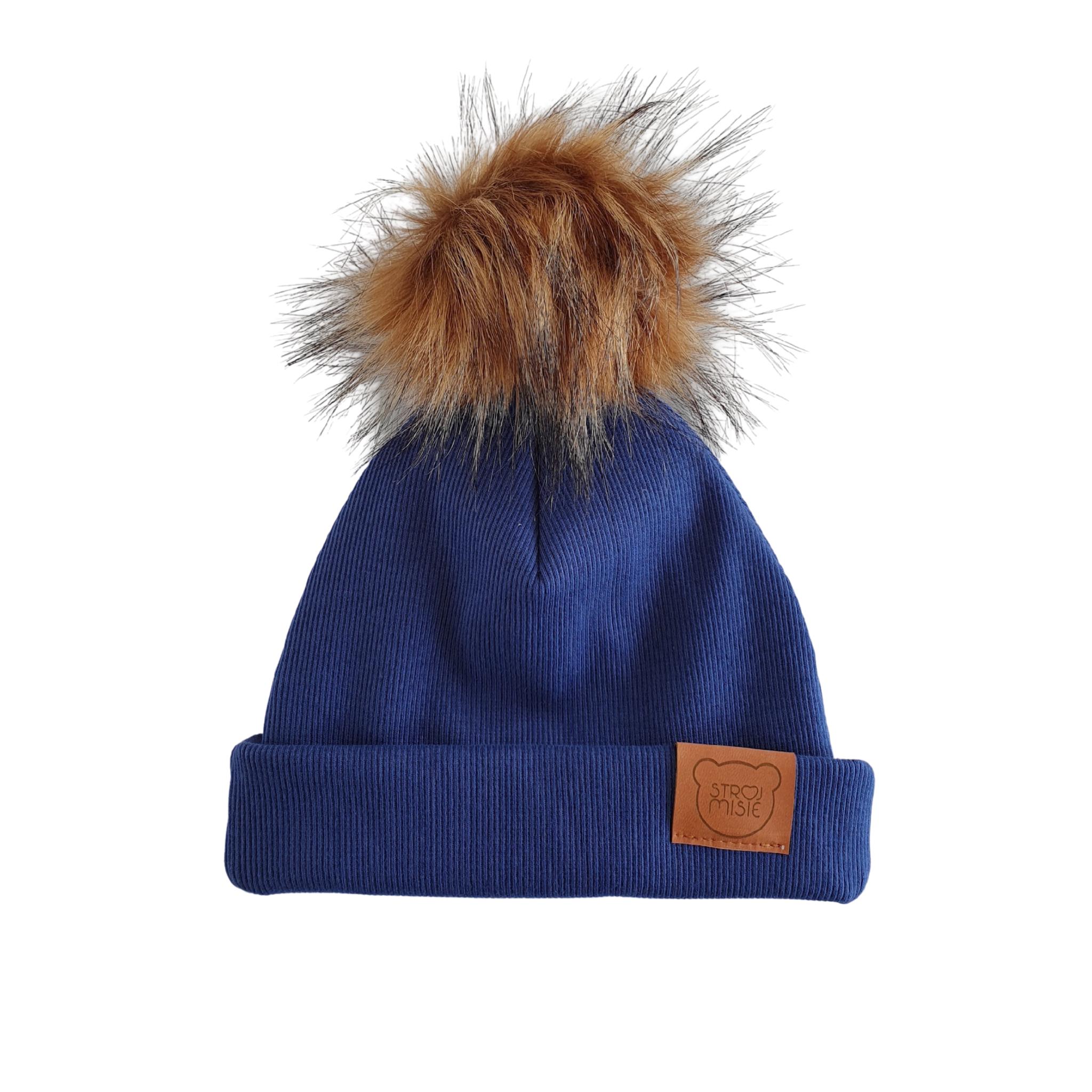 Strojmisie BLUE HAT WITH POM | KIDS HAT BLUE | BABY HAT NAVY