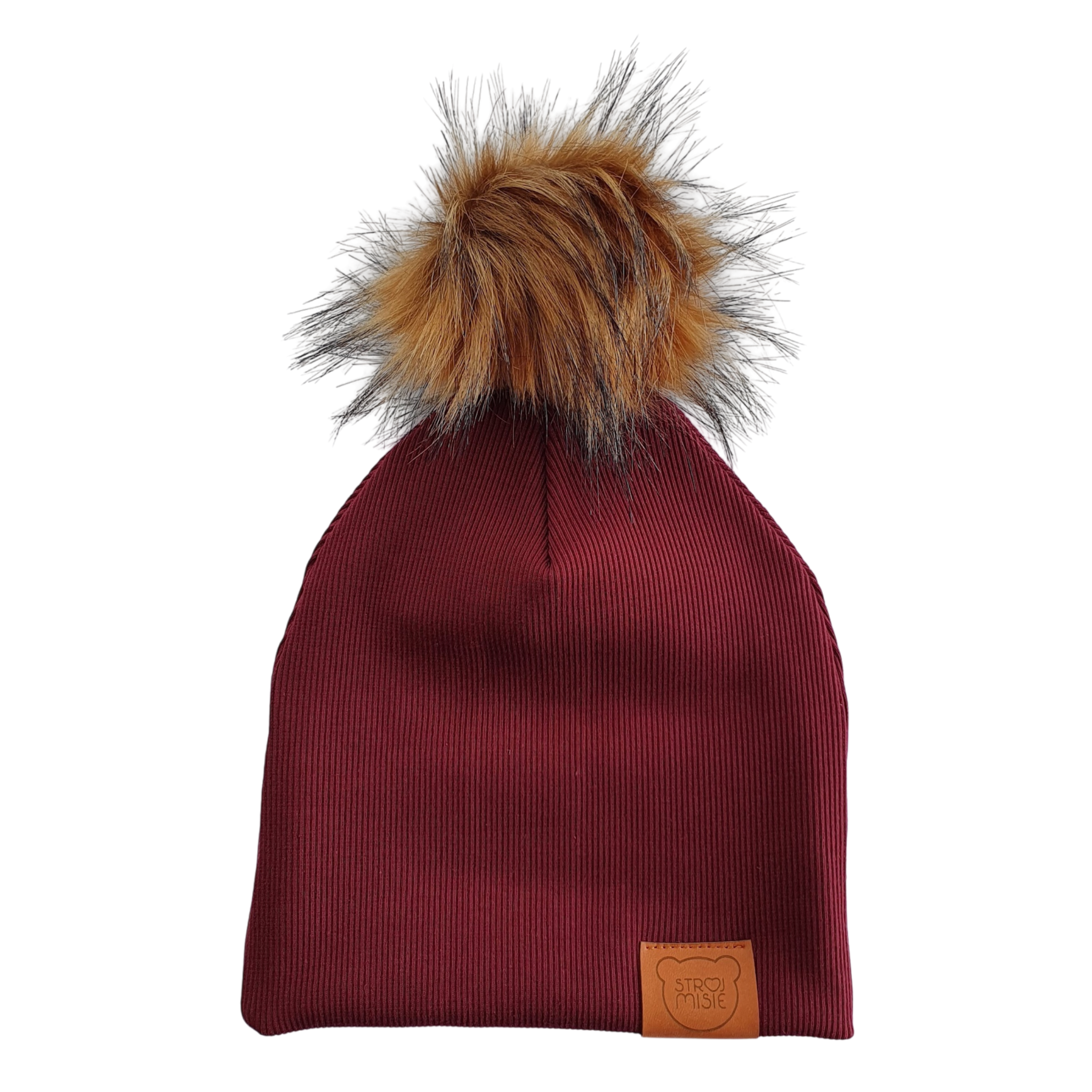 Strojmisie RED BEANIE WITH POM | KIDS HAT BORDEAUX | BABY HAT BORDEAUX RED