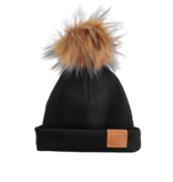 Strojmisie BLACK BEANIE WITH POM | KIDS HAT BLACK | BABY HAT BLACK