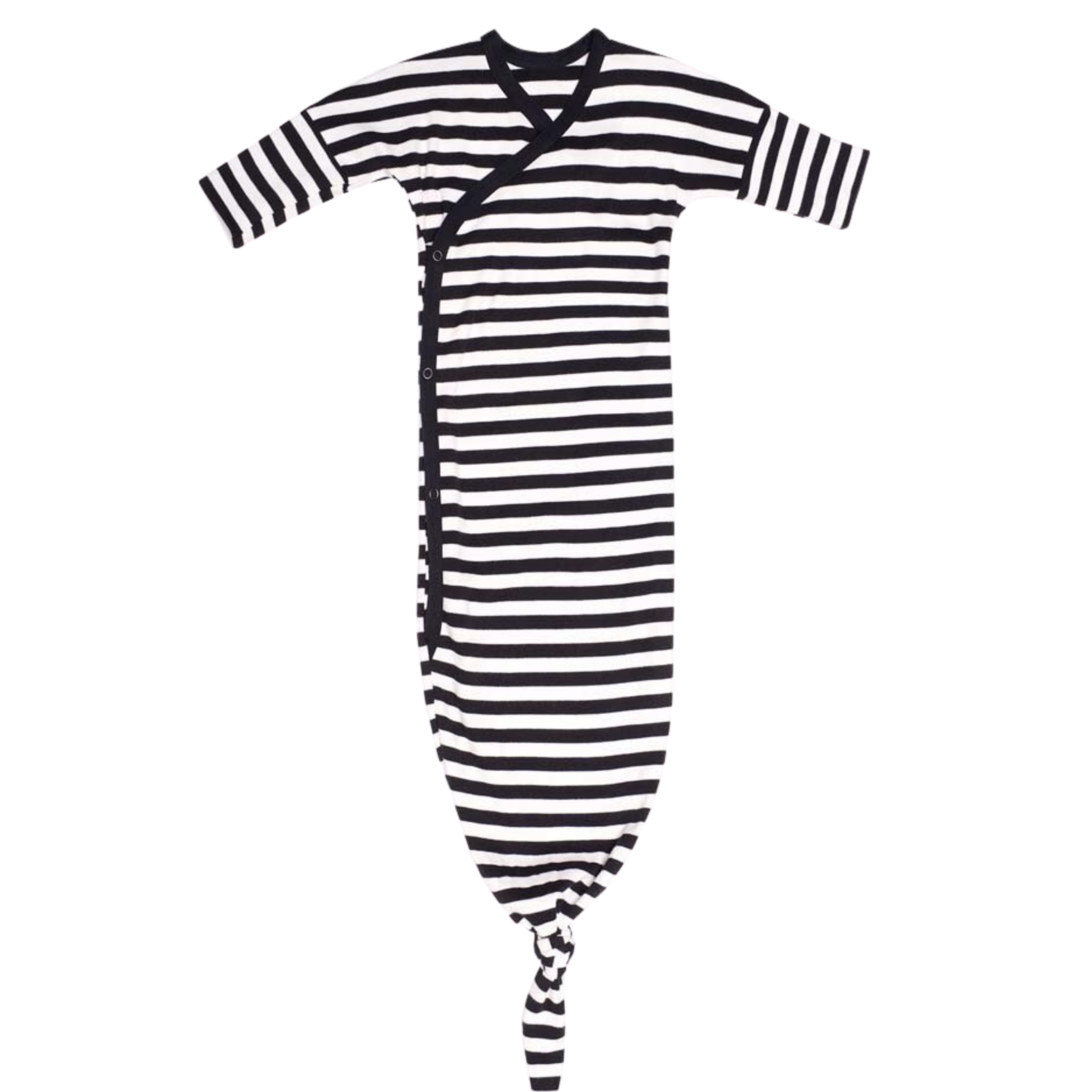 Wooly Organic KNOTTED BABY GOWN | KNOTTED GOWN FOR BABIES | BLACK AND WHITE