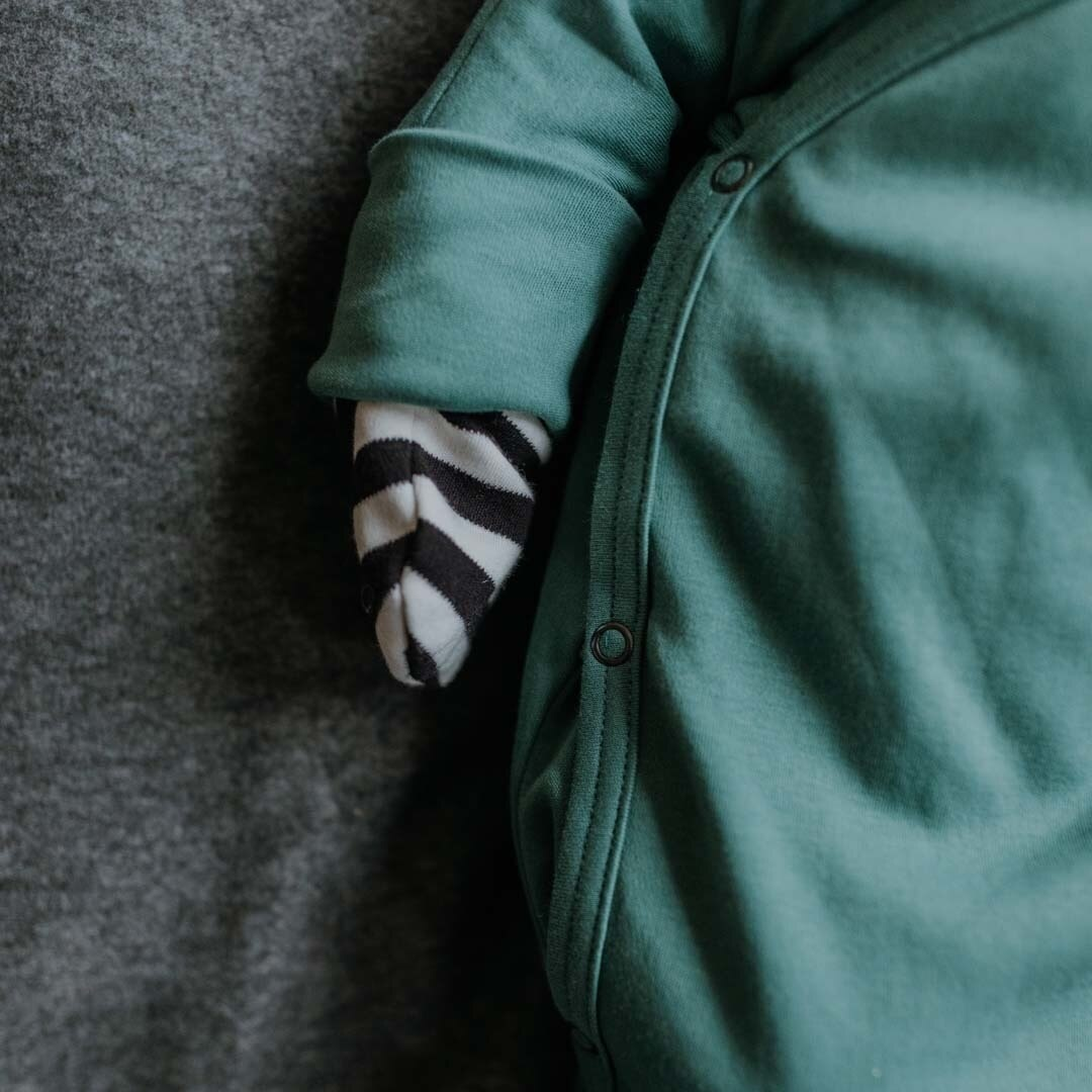 Wooly Organic KNOTTED BABY GOWN | KNOTTED GOWN FOR BABIES | GREEN GOWN