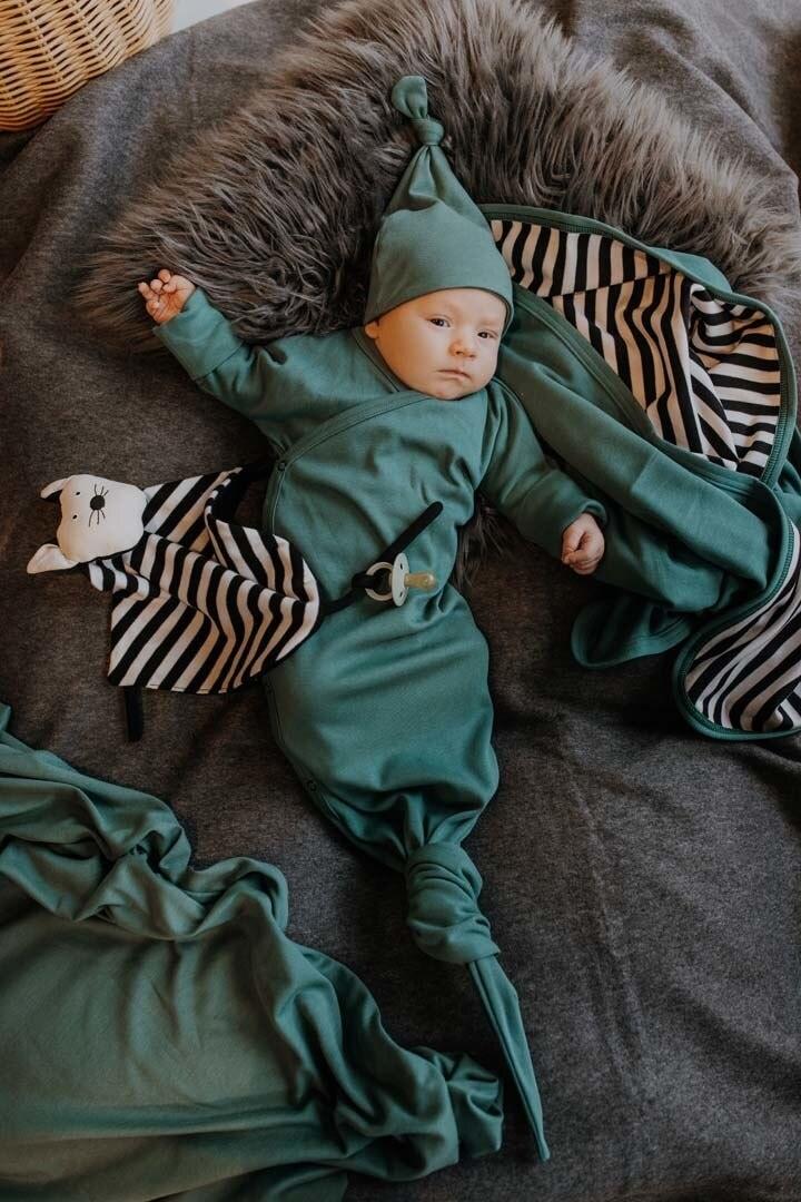 Wooly Organic GEKNOOPTE BABY SLAAPZAK | GEKNOOPTE SLAAPZAK | GROENE TRAPPELZAK