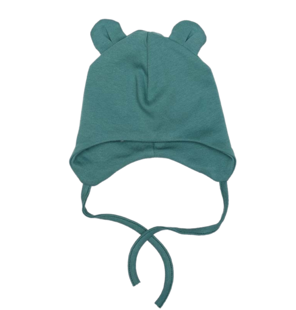 Wooly Organic BABY HAT WITH TEDDY EARS - SEA GREEN
