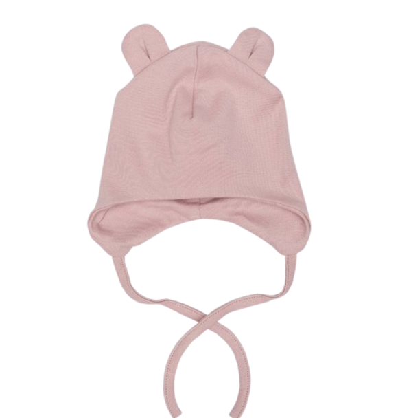 Wooly Organic BABY HAT WITH TEDDY EARS - DUSTY PINK
