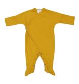 Wooly Organic KIMONO SLEEPSUIT | LONG SLEEVED BODYSUIT WITH FEET | OCHER YELLOW