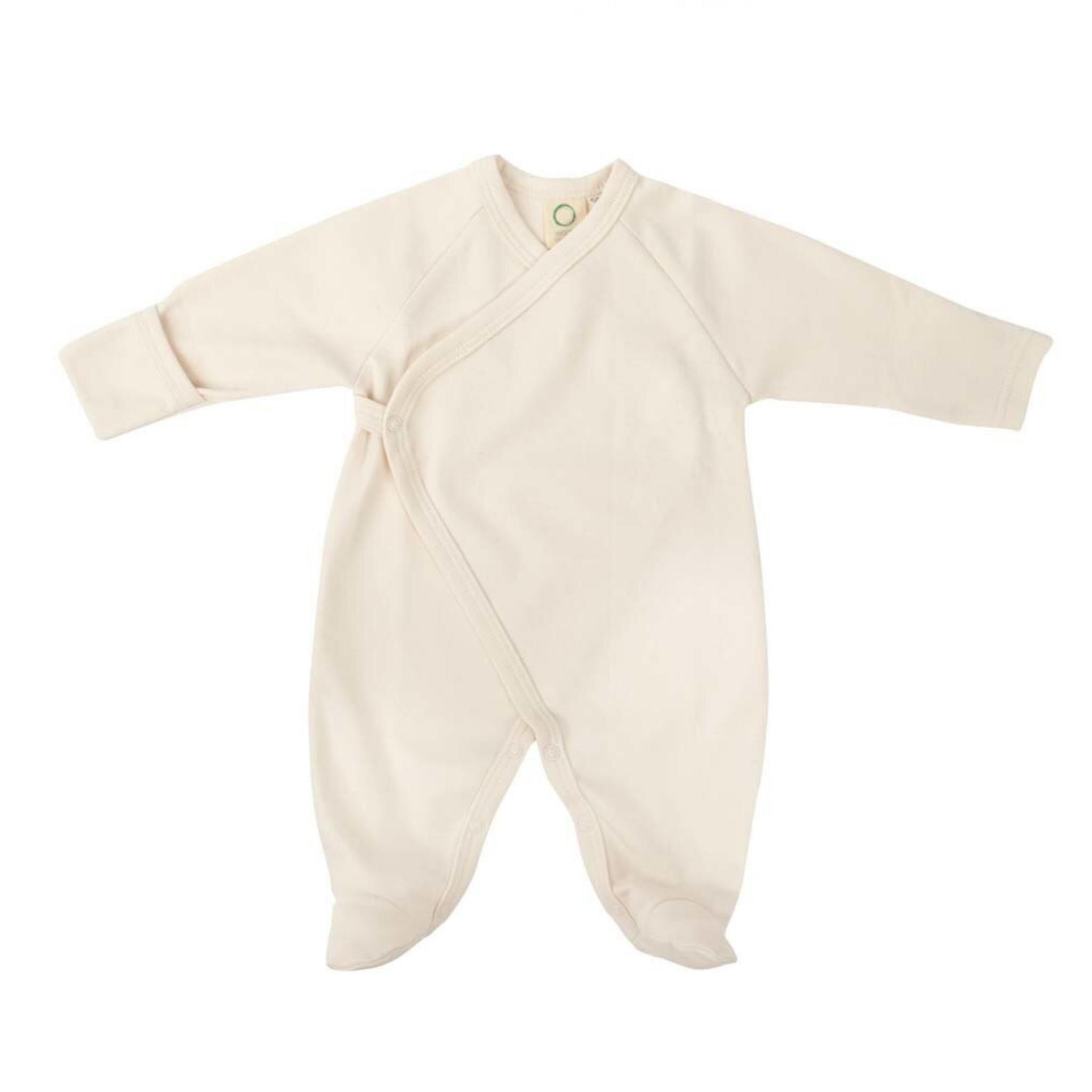 Wooly Organic KIMONO SLEEPSUIT | LONG SLEEVED BODYSUIT WITH FEET | ECRU WHITE