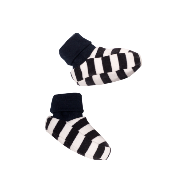 Wooly Organic BABY BOOTIES - BLACK-WHITE