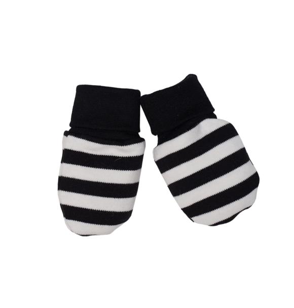 Wooly Organic BABY HANDSCHOENTJES - ZWART-WIT