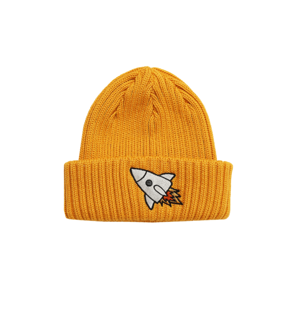 Minikid RIBBED BEANIE YELLOW ROCKET