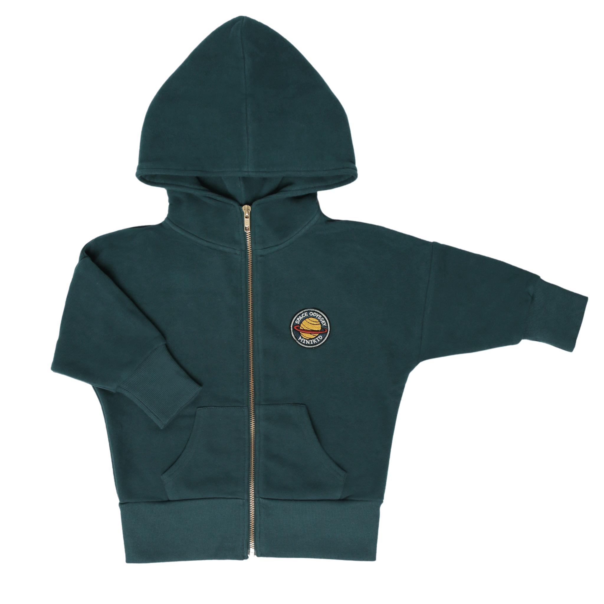 Minikid LONG HOODIE | BOTTLE GREEN HOODED CARDIGAN | COOL KIDSWEAR