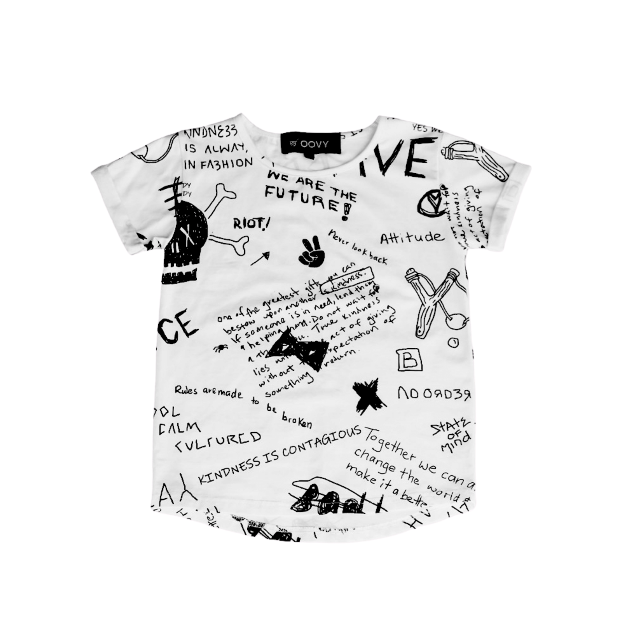 Oovy WHITE T-SHIRT WITH Tough PRINT | WHITE BOY SHIRT WITH PRINT | OOVY
