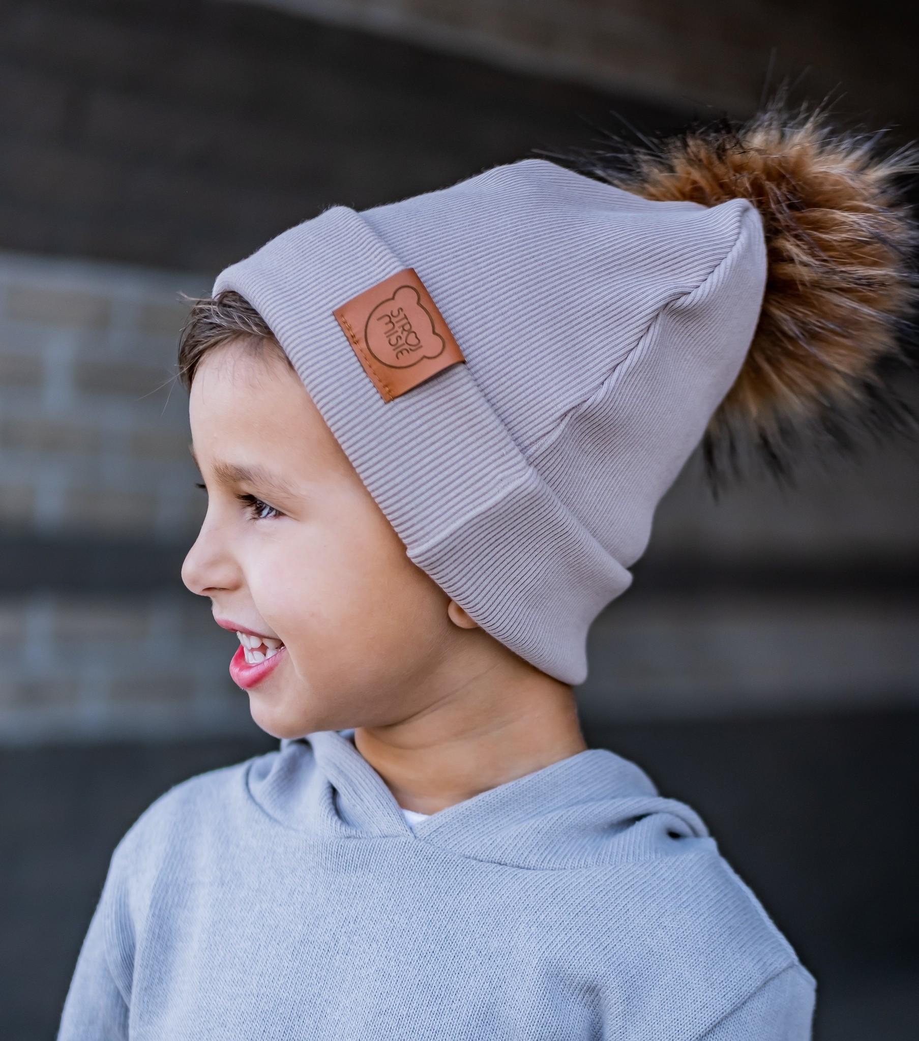 Strojmisie SANDY BEANIE WITH POM | KIDS HAT BEIGE | BABY HAT BEIGE