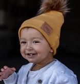 Strojmisie YELLOW BEANIE WITH POM | KIDS HAT MUSTARD | BABY HAT OCHER YELLOW